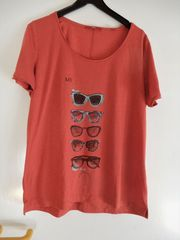 Orange-rotes Kurzarm-Shirt s Oliver m