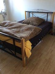 Metall - Holz Bett 140 cm