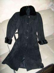 Echter Wildleder-Mantel mit Nerzbesatz und