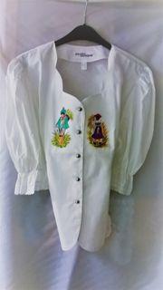 Landhaus-Bluse mit handgemalten Motiven Gr