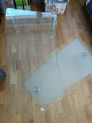 DESIGN Glastisch mit schwenkbarer Zwischenablage