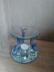 Teelicht mit 3 blauen Glasdelphinen