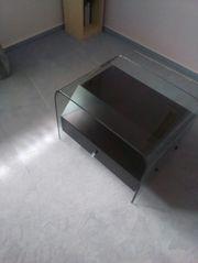 Designer-Nachttisch Klavierlack schwarz mit Glasplatte