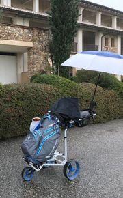 Golfbag mit Trolley und Schlägerset