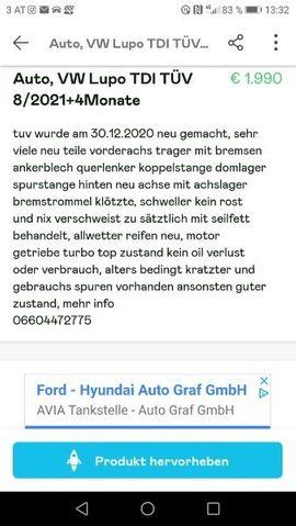 VW LUPO TDI TÜV 8 /2021 +4Monate