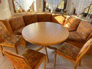 Erkereckbank Rundtisch und 3 Stühle