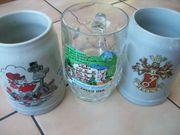 3 Bierkrüge Humpen Glaskrug Glas