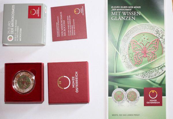 Münze 25 EURO Silber-NIOB Mikrokosmos