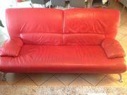 Design-Couch 3-Sitzer rotes Leder