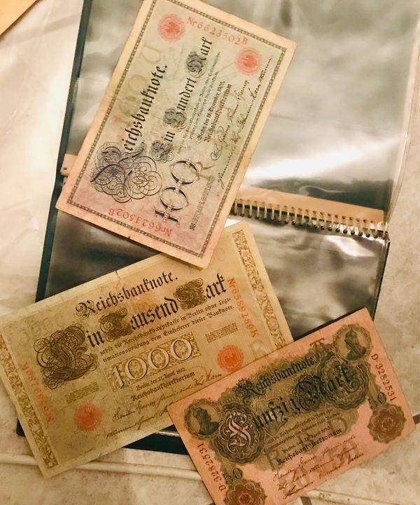 Reichsbanknoten 1000 100 50 Mark