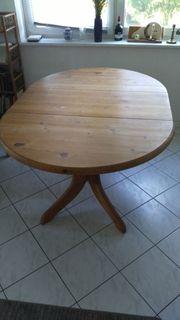 Holztisch massiv Kiefer Fichte oval
