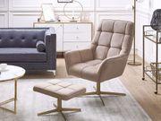 Sessel Samtstoff beige mit Hocker