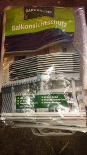 NEU gardenline Balkonsichtschutz grau weiß