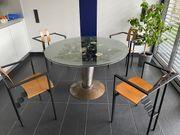 Designer Esstisch Stahl Glas rund