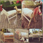 Holz Tiere Holzpferd Voltigierpferd Einhorn