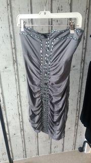 Abendkleid Trägerlos Gr S-M grau