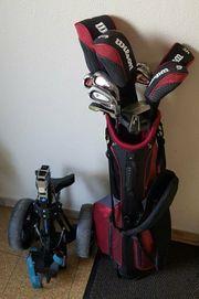 Golfbag mit vollem Schlägersatz zusätzlichen