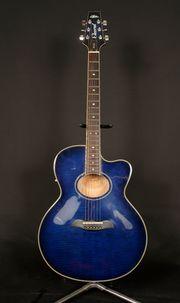 Akustik-Gitarre Aria Elecord FET-DLX Sunburst-Blue