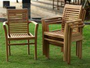 4x Gartenstuhl aus Teak Holz