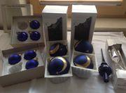 Christbaumkugeln aus Glas blau handbemalt