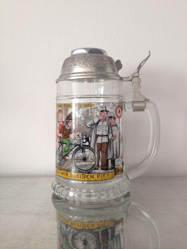 Glasbierkrug BMF - Radlerseidel mit Scharnierdeckel
