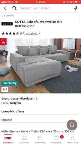 Ecksofa Eckcouch mit Schlaffunktion grau: Kleinanzeigen aus Frankfurt Bornheim - Rubrik Polster, Sessel, Couch