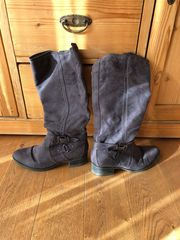 Stiefel Gr 38 Grau Lederimitat