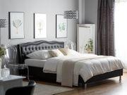 Bett Kunstleder schwarz Lattenrost 180