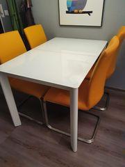 Esstisch mit Glasplatte ausziehbar weiß