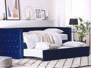 Tagesbett ausziehbar Samtstoff marineblau Lattenrost