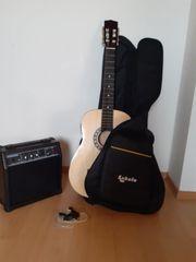 Gitarre mit Tasche und Amplifier