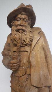 Große Holzfigur Bauer mit Pfeife