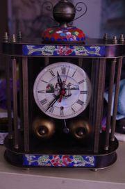 Mechanische Tisch Uhr Emaille Messing