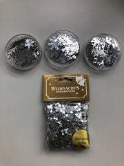 Metallic Konfetti Sterne-Engel-Schneeflocken Silber Streudeko