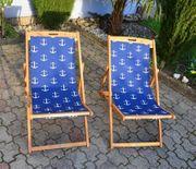 2 neue Holz Liegestühle Klappstühle
