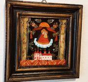 Antik Hinterglasmalerei Kloster Malerei Maria
