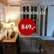 Sandfarbene Landhausvitrine Glasschrank Schiebetür 100