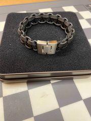 Fossil Herren- Leder-Armband mit Edelstahlschließe