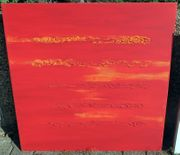 Acryl-Bild rot mit Streifen 70x70