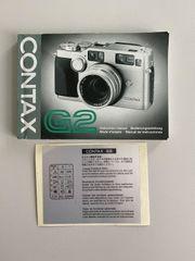 Contax G2 Beschreibung Manual Aufkleber