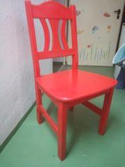 4 Holzstühle rotbemalt