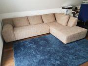 Couch Eckcouch Stoff braun meliert