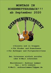 Ab September 2020 wieder Gitarrenunterricht