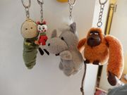 4 Lustige Schlüsselanhänger Nashorn Orang
