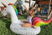 NEU aufblasbares Schwimmtier Luftmatratze Einhorn