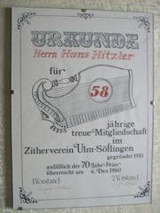 Zither Urkunde von 1970 Hans