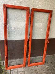 2 antike Holzfenster Eiche Orange