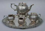 Großes sechsteiliges Tee-Service 833er Silber