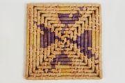 Topfuntersetzer Bast quadratisch lila natur