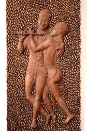 große handgeschnitzte Kamasutra- Tafel